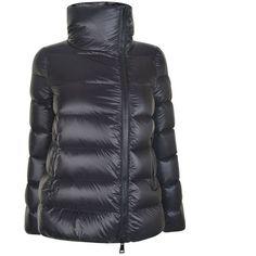 Moncler Salix Logo Coat (7 465 SEK) ❤ liked on Polyvore featuring outerwear, coats, black, long sleeve coat, goose down coats, moncler and moncler coat