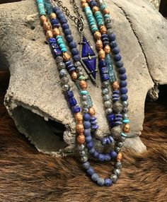 Royal Nomad Layers! A mix of lapis, African beads, turquoise, diamonds, ect. The more necklaces the better! All handmade in the USA! #kemosabe #jewelry