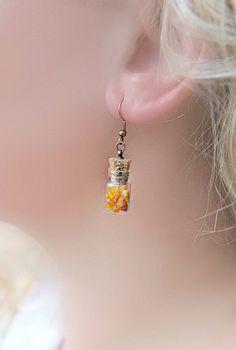 Amber In The Jar Earrings -- Small dangle earrings from MiLiCrafts Jewelry by DaWanda.com