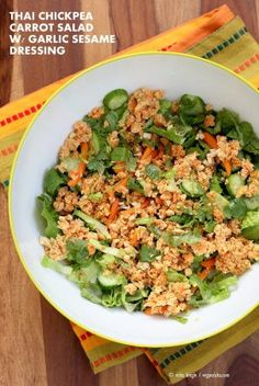 Thai Salad with Chickpea Carrot Crumble & Garlic Soy Dressing