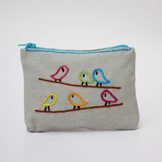 grey bird coin purse - coin pouch - zipper pouch -  hand embroidery on linen by NIARMENA on Etsy https://www.etsy.com/listing/129332890/grey-bird-coin-purse-coin-pouch-zipper