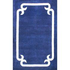 nuLOOM Handmade Solid Border Wool Royal Blue Rug (5' x 8')