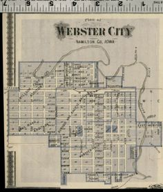 Webster City Iowa Street Map / Plan (Hamilton County); Authentic 1875 Item