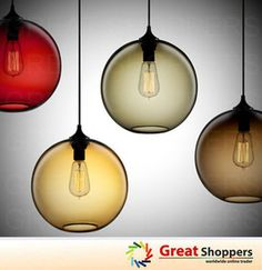 New Modern Contemporary Color Glass Ball Ceiling Light Pendant Lamp Fixture x 1