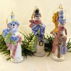 Ceramic Oakknob Snowman Ornament Set of by GrapeVineCeramicsGft, $30.00
