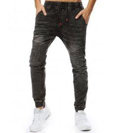 Čierne pánske jogger nohavice s džínsovým vzhľadom Parachute Pants, Sweatpants, Fashion, Moda, Sweat Pants, Fasion, Training Pants