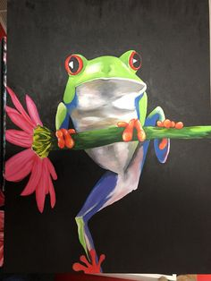 Large Tree Frog Original Painting by Claire O'Connor by RogueLab on Etsy Chalk Pastel Art, Chalk Pastels, Tree Frog Tattoos, Realistic Animal Drawings, Frog Rock, Red Eyed Tree Frog, Frog Pictures, Frog Art, Cartoon Profile Pics