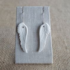 Porcelain Wing Earrings Feather Earrings Mrs by MrsPetersonPottery, $49.00