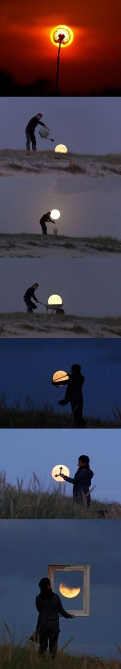 Here are some perfectly timed pictures of the sun and moon.