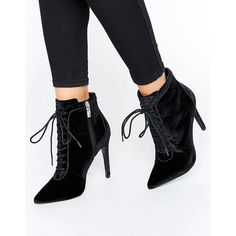 Carvela Glen Velvet Lace Up Heeled Ankle Boots (555 ILS) ❤ liked on Polyvore featuring shoes, boots, ankle booties, black, lace up booties, black stilettos, lace up ankle boots, black pointed toe booties and black boots