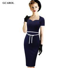 Women Vintage Peincl Dress OL Office Wear Bodycon Dress Plus Size 4XL Stretch Ladies'Good Figure Work Dress