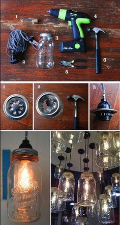 Luminária com vidros reciclados