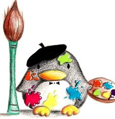 Painter Penguin - coloured by B-Keks.deviantart.com on @DeviantArt