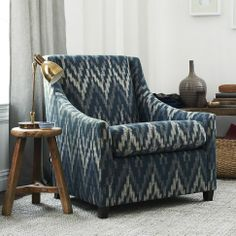 NEW! Sweep Armchair upholstered in Royal Blue Ikat Chevron from west elm
