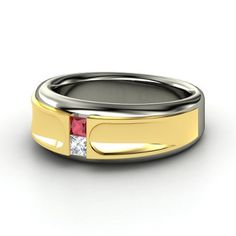 Men's Sterling Silver Ring with Ruby & Diamond   Take Two Ring   Gemvara