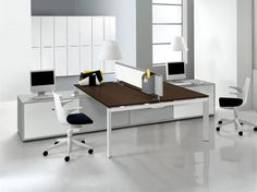 "<div class=""fancybox-title-heading"">modern two sided desks design with short white partition and brown countertop and black and white swivel chairs and file storage and computer set</div>"