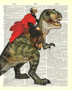George Washington riding a dinosaur Dictionary Page by VintyPages, $9.88