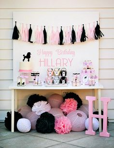 Darling Pink & Black Poodle Skirt Birthday Party