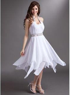 $147.99 - A-Line/Princess Halter Tea-Length Chiffon Homecoming Dress With Ruffle Beading Sequins  http://www.dressfirst.com/A-Line-Princess-Halter-Tea-Length-Chiffon-Homecoming-Dress-With-Ruffle-Beading-Sequins-022016277-g16277