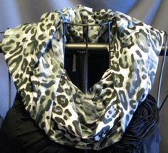black gray white Leopard Print slinky Circle by ScarfLadyDesigns, $15.00