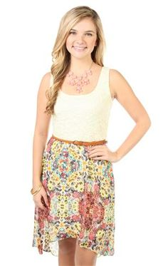 crochet floral printed belted high low dress