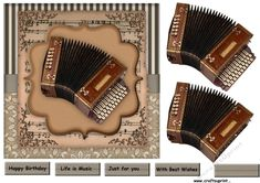 Male Card Music by Marijke Kok Great male ard with music instruments for any musical occasion In vintage style.