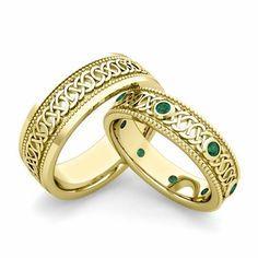 Matching Celtic Wedding Bands in 18k Gold Milgrain Emerald Ring