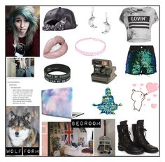 """""""Werewolf OC - Melyssa Everheart"""" by pastelkittyxx ❤ liked on Polyvore featuring beauty, Religion Clothing, Chanel, Bling Jewelry, Hot Topic and Polaroid"""