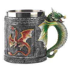"""Royal Dragon Mug Medieval Collector tankardMedieval style mug is richly emblazoned with fearsome dragon motif and fiercely frowning serpent handle. A perfect decorative banquet cup for any Dragon King! Decorative purposes only. Polyresin and metal. 3¾"""" diameter x 4"""" high; with handle 5"""" wide"""
