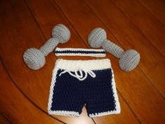 Hand crochet baby photo prop, workout set, size 0-3 months, ready to ship #Handmade