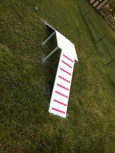 Dog agility course DIY-A frame up down ramp. Wood, spray paint, hinges.