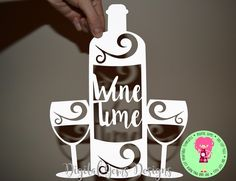 Wine And Glass Papercut Template SVG / DXF Cutting File For Cricut / Silhouette And PDF Printable For Hand Cutting. Download. by DigitalGems on Etsy