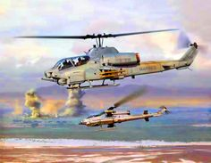Huey Cobra Gunships in battle- by Jim Laurier Helicopter Pilots, Attack Helicopter, Military Helicopter, Military Jets, Military Aircraft, Close Air Support, Nose Art, Aviation Art, War Machine