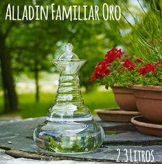 Vitalkaraffe Golden alladin garrafa 1,3 litros-Flor de la vida en oro