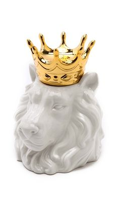 Gift Boutique Crowned Lion Head Container