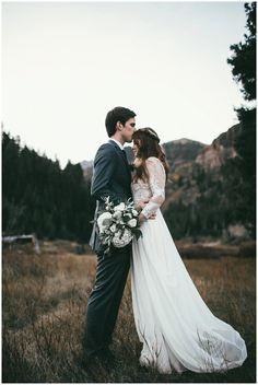 Modest wedding dress with flowy bottom from Alta Moda Bridal in SLC, UT