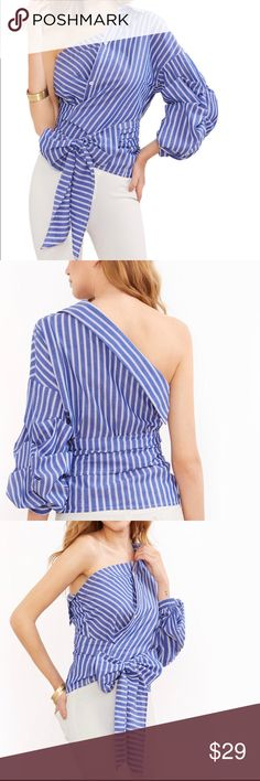 Blue Striped One Shoulder Wrap Around blouse sale New Fashion Shirt Women's Blue Striped One Shoulder Wrap Around Button Down Top Blouse. Brand new available in small and medium. Available to ship immediately Tops Button Down Shirts