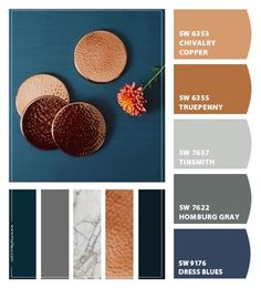 Paint colors from ColorSnap by Sherwin-Williams Paint colors from ColorSnap by Sherwin-Williams Living Room Color Schemes, Colour Schemes, Color Combos, Living Room Colors, Color Trends, Copper Colour Palette, Copper Color, Copper Paint Colors, Paint Colors For Home