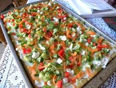 Veggie Pizza: crescent roll crust, creamy filling, topped with lots of veggies