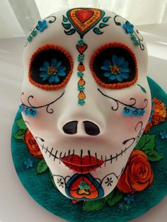 Cinco de Mayo Sugar Skull  Cake by MamaRhu- the colors not the shape of the skull