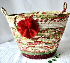 Maroon Waste Basket Handmade Green Handled Basket Receptacle   Etsy