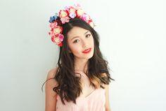 red floral headband // flower crown, rose statement headpiece, festival crown, lana del rey, fascinator, spring racing, hair