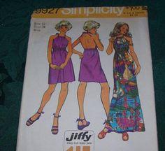 Vintage Simplicity 9927 Vintage Jiffy Dress in Two Lengths, Vintage Halter Dress Pattern by vintagecitypast on Etsy