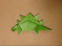"""恐竜折り紙★ ステゴザウルスの折り方 ★Origami Dinosaur """"Stegosaurus"""""""