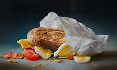 Tjalf Sparnaay painting: MPV Broodje Gezond - 90 x 150 cm Burger Drawing, Food Drawing, Rembrandt, Tjalf Sparnaay, Hyper Realistic Paintings, Number Art, Food Painting, Painting Tips, Dutch Painters