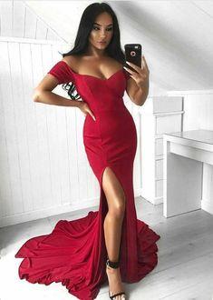 93f333bc767 Mermaid off shoulder prom party dresses split
