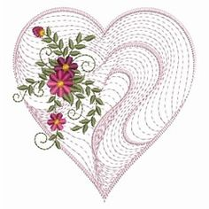Rippled Floral Heart 2, 8 - 3 Sizes! | Floral - Flowers | Machine Embroidery Designs | SWAKembroidery.com Ace Points Embroidery