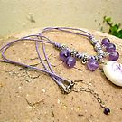 Amethyst and Mystical Indalo charm necklace
