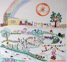 Felicidade é: bordar as lembranças da infância...Trabalho da aluna Mieko Makino. Os trabalhos que foram para a mostra 2º Quilt & Craft Sho...