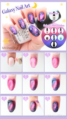 Galaxy Nail Art Tutorial Please visit my blog for the details :D https://nailbees.com/galaxy-nails